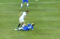 John Terry was on the receiving end of a shocking tackle last night