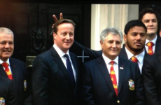 Manu Tuilagi gives David Cameron bunny ears in front of everyone