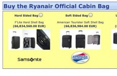 Ryanair are charging 66 million euro for their official cabin bag*