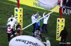 Giant inflatable balls bring down goal post at Gloucester