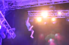 Stage invader falls from rafters at New Year's Eve concert (video)