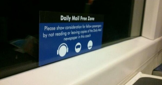 Extreme Daily Mail burn spotted on a train to London