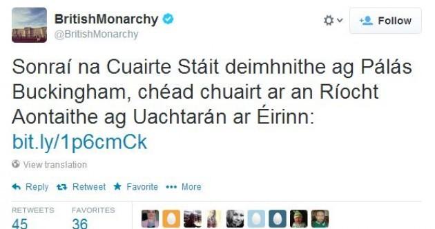 The British Monarchy has spoken in Irish