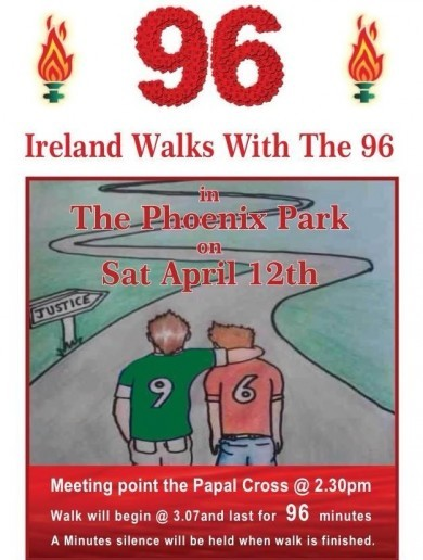 Hillsborough's 25th anniversary marked by 96-minute walk in Phoenix Park today