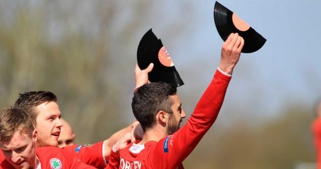 SNAPSHOT: Striker celebrates breaking scoring record by… breaking a vinyl record