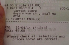 An Irish punter won a nice wedge by correctly predicting Real's rout of Bayern tonight