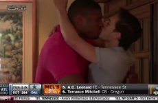 First openly gay player drafted in the NFL kisses boyfriend live on telly