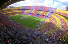 Barca's 98,500 fans get to work with wraparound mosaic ahead of La Liga showdown