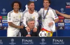 Real Madrid players crash Ancelotti's press briefing, Carlo raises unimpressed eyebrow