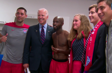 Soccer nut Joe Biden and family went to awkwardly hang out in the USA dressing room last night