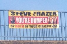 Cheating man dumped by both his girlfriends with one very public banner