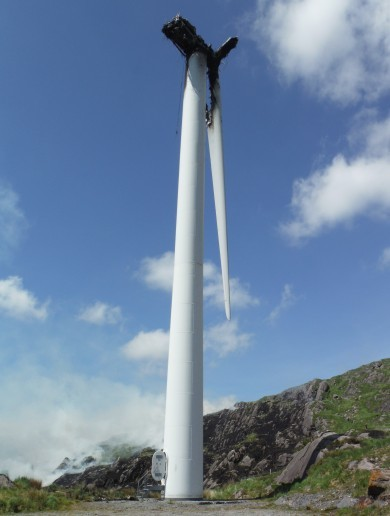 This wind turbine caught fire and threw a flaming blade dozens of metres