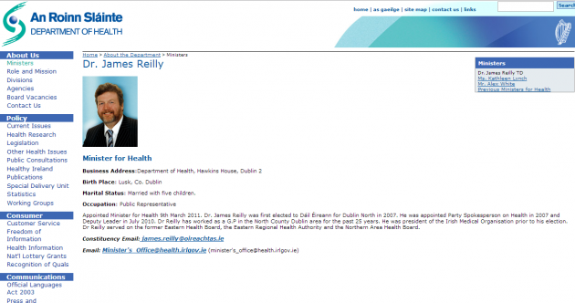 James Reilly is still Health Minister… according to the Department's website