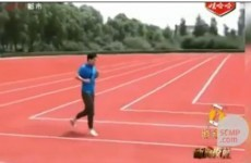 Chinese officials build right-angled running track