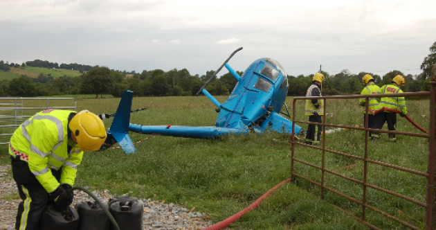 Lucky escape for pilot, after helicopter crashes in field next to primary school