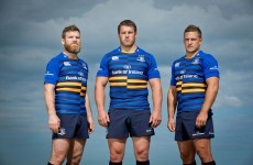 Leinster's new European jersey has navy and gold stripes on the front