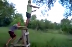 Russian man tries to jump on to a rope swing, fails horribly