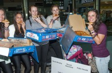 Domino's greeted five Irish girls returning home from holidays with pizza at Dublin Airport