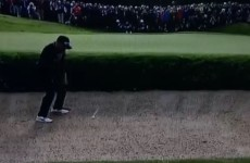 Rickie Fowler chips in beautifully from the bunker