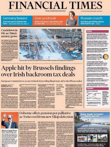 Ireland denies giving illegal State aid to Apple as FT front page makes world headlines
