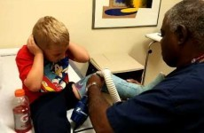 Little boy has a pretty unexpected reaction to getting his cast off