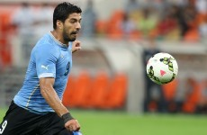 Delightful chip by Luis Suarez as he bags first goals for Uruguay since World Cup bite ban