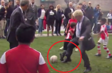 Notorious hatchet man Boris Johnson dangles a leg, trips little kid during park kickabout