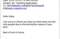 "Irish girl rejected for job in South Korea due to ""alcoholism nature of your kind"""