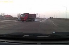 Luckiest pedestrian ever has unbelievable close call with colliding vehicles