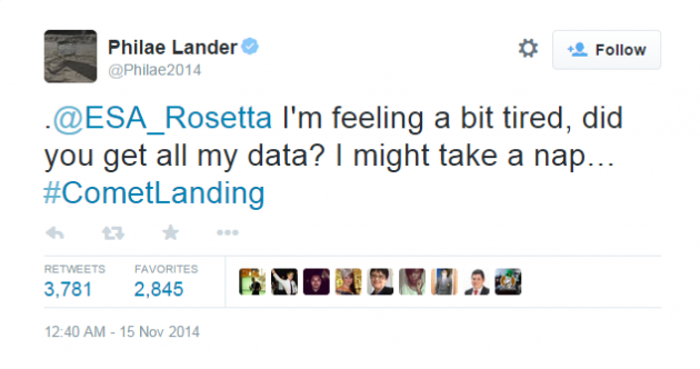 The last tweets from the comet lander are pretty heartbreaking…