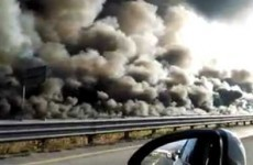 This is what a whole motorway looks like when it's completely on fire