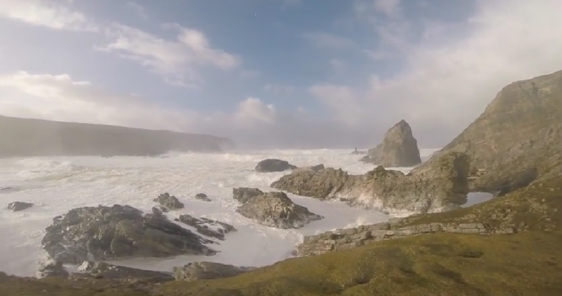 Waves off the Donegal coast yesterday were higher than three double deckers