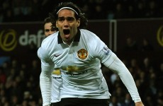 Falcao celebrated wildly after powering home a header for Man United