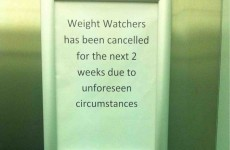 This poorly placed Weight Watchers sign would ruin all your good intentions