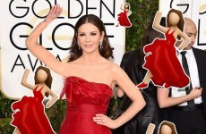 Catherine Zeta Jones was at the Golden Globes as the red dancing lady emoji