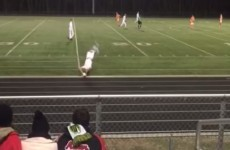 High school footballer scores from outrageous somersault and long throw-in combo