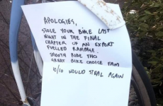 Soundest bike thief ever returns bike, leaves excellent apology note