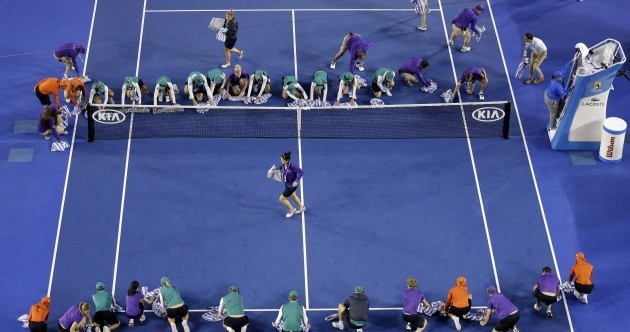 A rain delay at the Aussie Open meant 30 people got the cloths out and mopped up