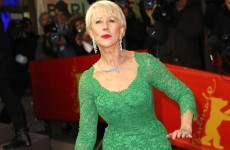 Helen Mirren falls up the stairs, still manages to look amazing