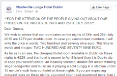 Dublin hotel lashes out at Ed Sheeran fans in scathing Facebook post