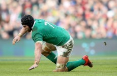 Sean O'Brien's day ends early as heavy knock causes him to wobble and fall over