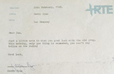 Here's the note Gerry Ryan sent Ian Dempsey on his first day at RTÉ in 1980