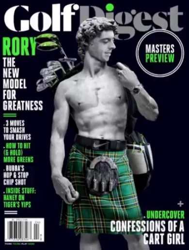 Rory McIlroy is topless in a kilt on the front of this month's Golf Digest