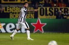 Brilliant Tevez double blasts Juve past Dortmund and into the last 8