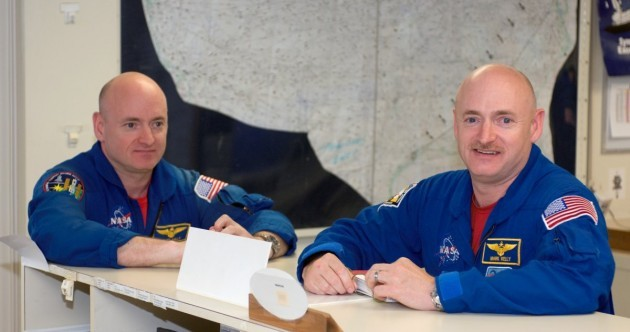 Can you guess which of these twins is heading into space this morning?