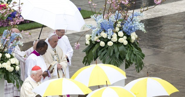 Over 50,000 people celebrated mass with the Pope this morning
