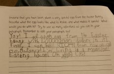 Seven-year-old girl imagines 'special Easter egg' for homework assignment, nails it
