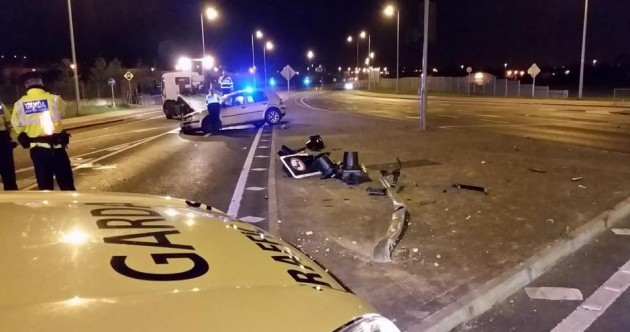 A traffic light was entirely flattened in a crash off the M50 at the weekend