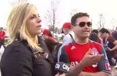 "Reporter confronts football fans over shouts of ""f*** her right in the p****"""