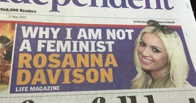 Rosanna Davison has slammed this 'misleading headline' and says she is 100% feminist